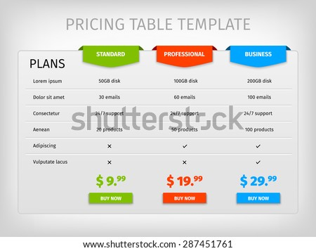 comparison services web pricing table template のベクター画像素材