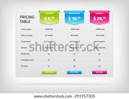 comparison services web pricing table template stock vector royalty