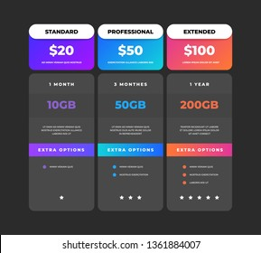 Comparison table. Business pricing chart web banner, web site tariff plan design template, checklist grid. Vector price compare tables menu comparative creative infographic