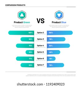 Comparison table. Graphs for product compare. Choosing and comparison content. Vector infographic concept comparison graph, compare chart illustration