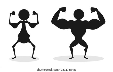Comparison of unhealthy bad and poor physique vs strong and big musculature of muscular bodybuilder.  Strength or weakness ob human body.  Vector illustration