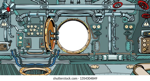 compartment or command deck of a submarine. Pop art retro vector illustration vintage kitsch