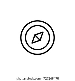 Compas flat icon. Single high quality outline symbol of summer for web design or mobile app. Thin line signs of swimming for design logo, visit card, etc. Outline logo of diving