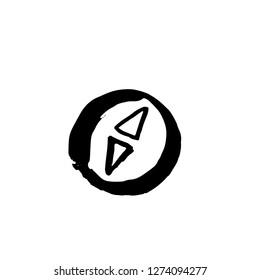Compas grunge icon. Vector hand drawn illustration.