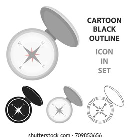 Compas icon in cartoon style isolated on white background. Hunting symbol stock vector illustration.