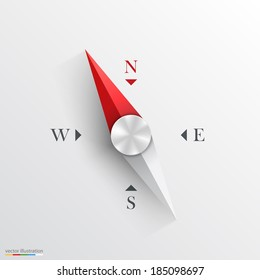 Compass 3d object on a white background, Compass sign, template design element, Vector illustration