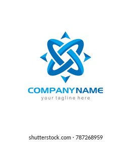 compass adventure blue army abstract logo vector