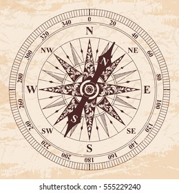 Compass with an arrow. old vector. Rose of Wind. Brown pattern on the beige background with the aging effect.