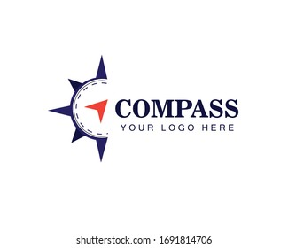 Compass Arrow Travel Direction Logo Template