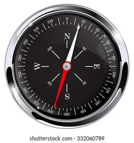 Compass. Black glossy compass with chrome frame. Vector Illustration isolated on white background.