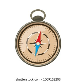 Compass for camping tourism, cartoon illustration of travel equipment. Vector