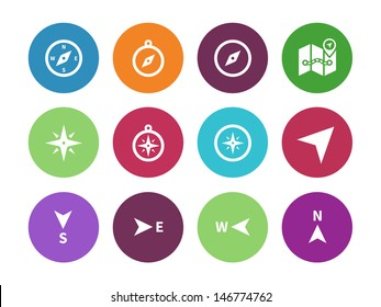 Compass circle icons on white background. Vector illustration.