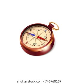Compass with colored arrows. Wind rose on white background. Vector illustration in vintage style.