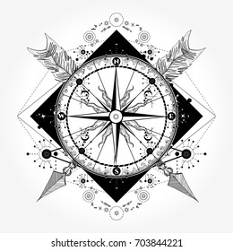 Compass and crossed arrows tattoo art. Symbol of tourism, adventure, travel t-shirt design