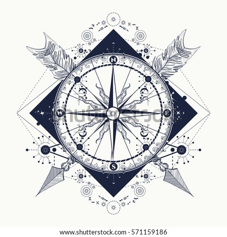 Compass Crossed Arrows Tattoo Art Symbol Stock Vector Royalty Free