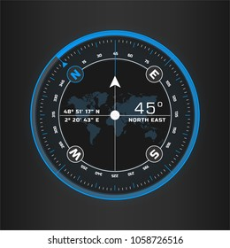 Compass digital HUD navigate illustration design