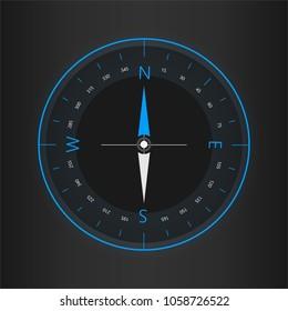 Compass digital HUD navigate illustration design