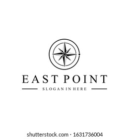 compass, east point logo design vector image illustration with monogram concept