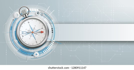 Compass with electronic schematicon and banner on the gray background. Eps 10 vector file.