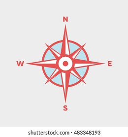 Compass in Flat Blue and Red Colors