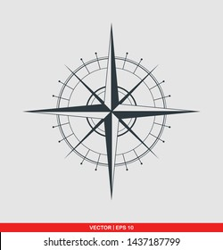 Compass flat icon, vector illustration on gray background