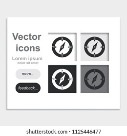 Compass flat placed on web page template vector icon.