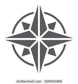 Compass glyph icon, navigator and geography, windrose sign vector graphics, a solid pattern on a white background, eps 10.
