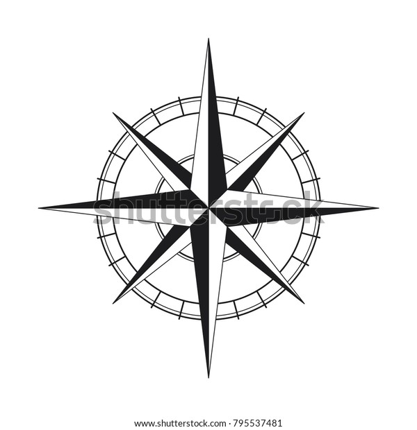 Compass Gray Simple Flat Icon Stock Vector (Royalty Free