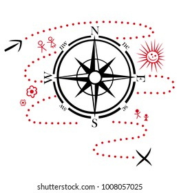 Compass with hiking map. Design for hikers and outdoor friends.