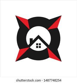 Compass and Home vector logo.