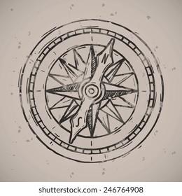 Compass icon badge. Vintage retro style seal, monochrome vector art illustration.