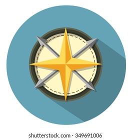 compass icon - flat icon