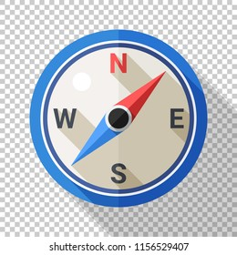 Compass icon in flat style with long shadow on transparent background