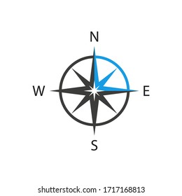 Compass icon in flat style on white background. Isolated vector illustration.