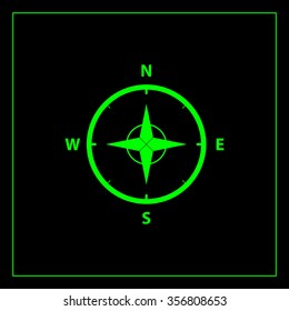 Compass Icon in the flat style. vector
