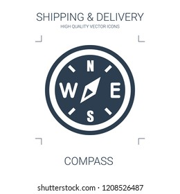 compass icon. high quality filled compass icon on white background. from shipping delivery collection flat trendy vector compass symbol. use for web and mobile