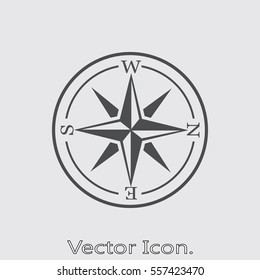 Compass icon isolated sign symbol and flat style for app, web and digital design. Vector illustration.