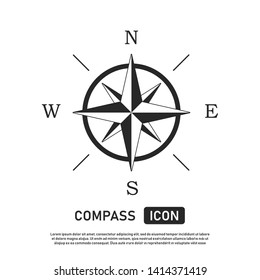 Compass icon. Location symbol. West north south east indicator. Navigation element. EPS 10