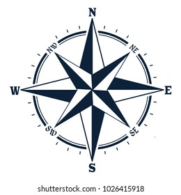 Compass icon on white background. Rose of Wind, vector illustration