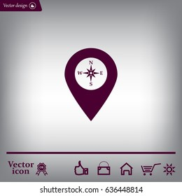 Compass icon and pin on the map