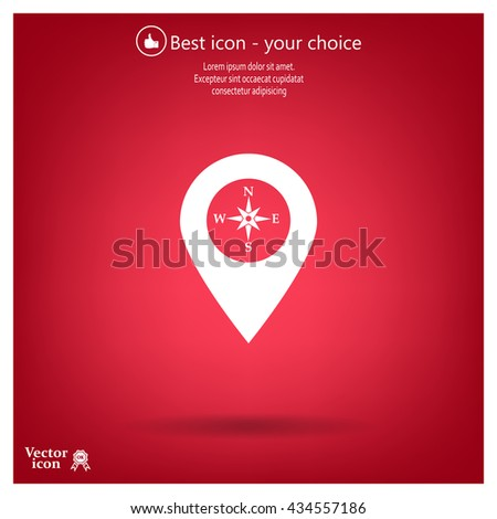 Compass Icon Pin On Map Stock Vector (Royalty Free) 434557186