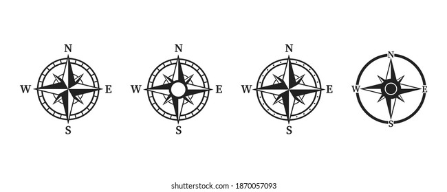 Compass icon set .Collection of simple compass icons . Wind rose illustration on white background.  Black windrose .Vector .10 eps