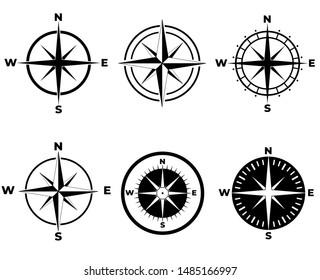 Compass icon set, logo isolated on white background