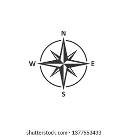 Compass icon in simple design. Vector illustration