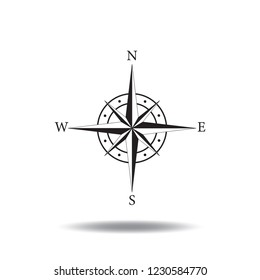 Compass icon vector flat sign symbols logo illustration isolated on white background black color.Concept for business, travel, tourism,science,direction.