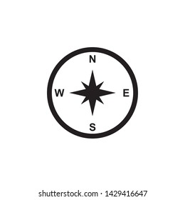 Compass icon vector.  Compass navigation symbol illustration. Simple design on white background.