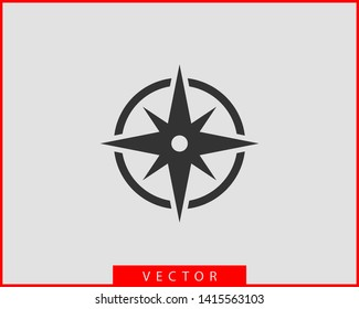 Compass icon vector. Wind rose star navigation.