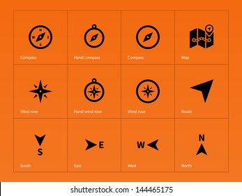 Compass icons on orange background. Vector illustration.