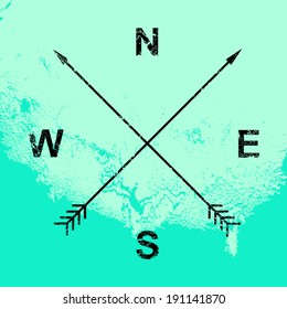 Compass illustration, crossed arrows