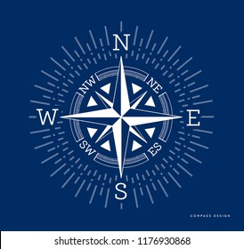 Compass illustration in flat style. Rose of the winds with starburst, sunburst ray elements. Vector on blue background